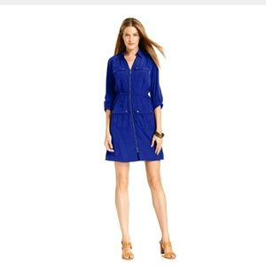 Alfani Zipper Front Tab-Sleeve Utility Shirt Dress